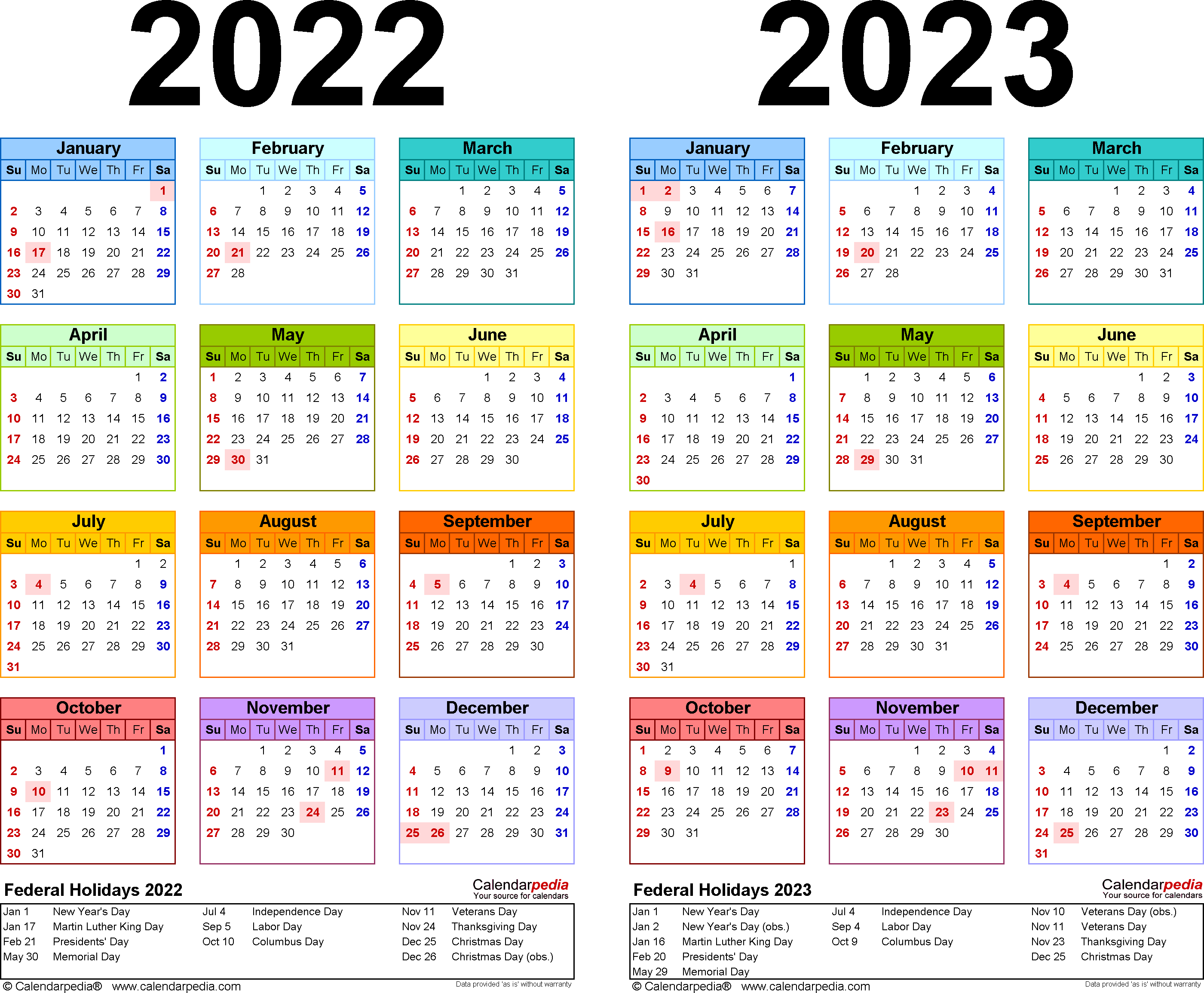 2022-2023 Calendar - Free Printable Two-Year Word Calendars