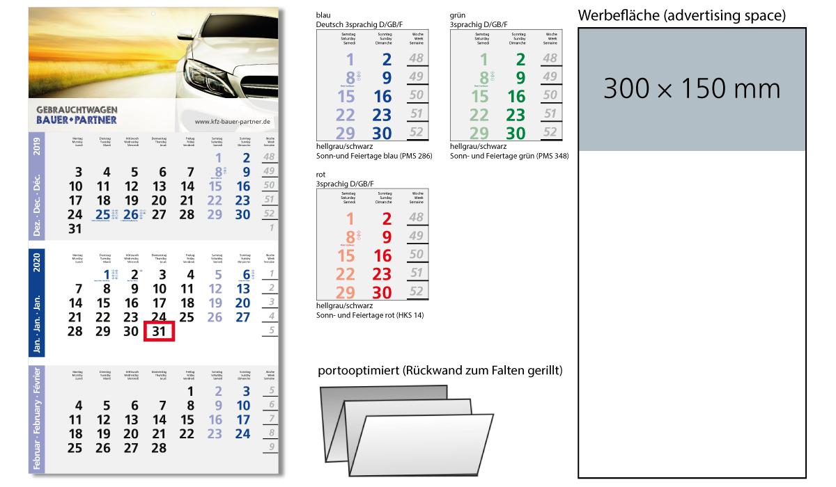 3-Month Calendar 2020 Logic 3 Post A | 3-Month Planner With Logo Printed |  Deprismedia