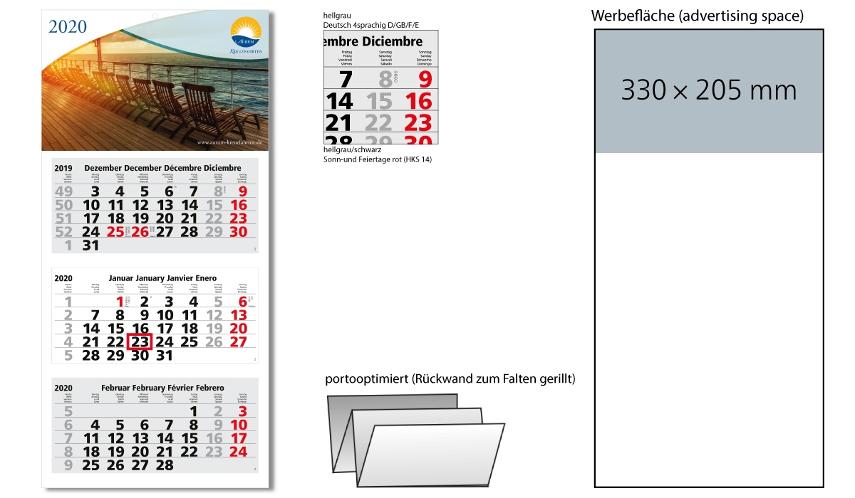 3-Month Calendar 2020 Medium Light 3 Including Advertising Printing |  3-Month Planner With Logo Printed | Deprismedia