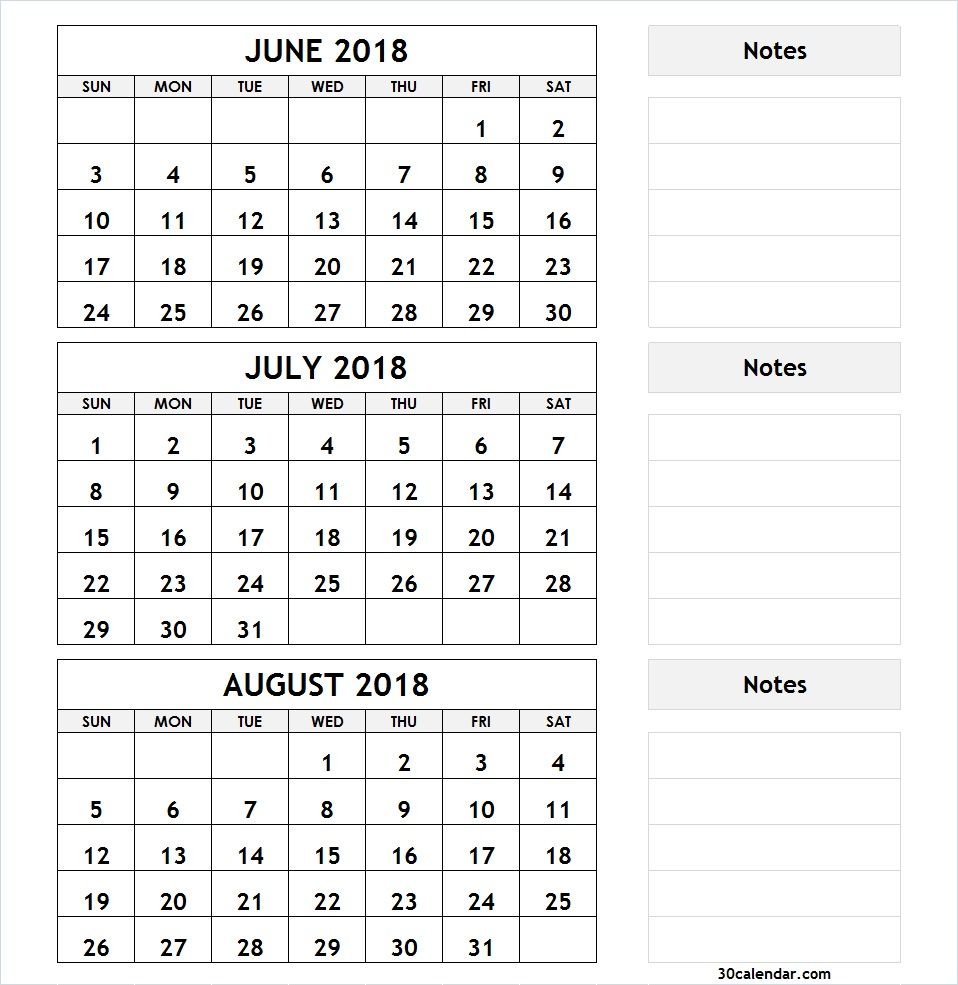 3 Month Calendar June July August 2018 | 2018 Calendar | 3