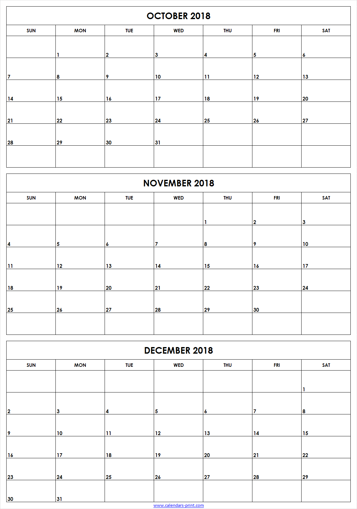 3 Month October To December 2018 Calendar Template Archives