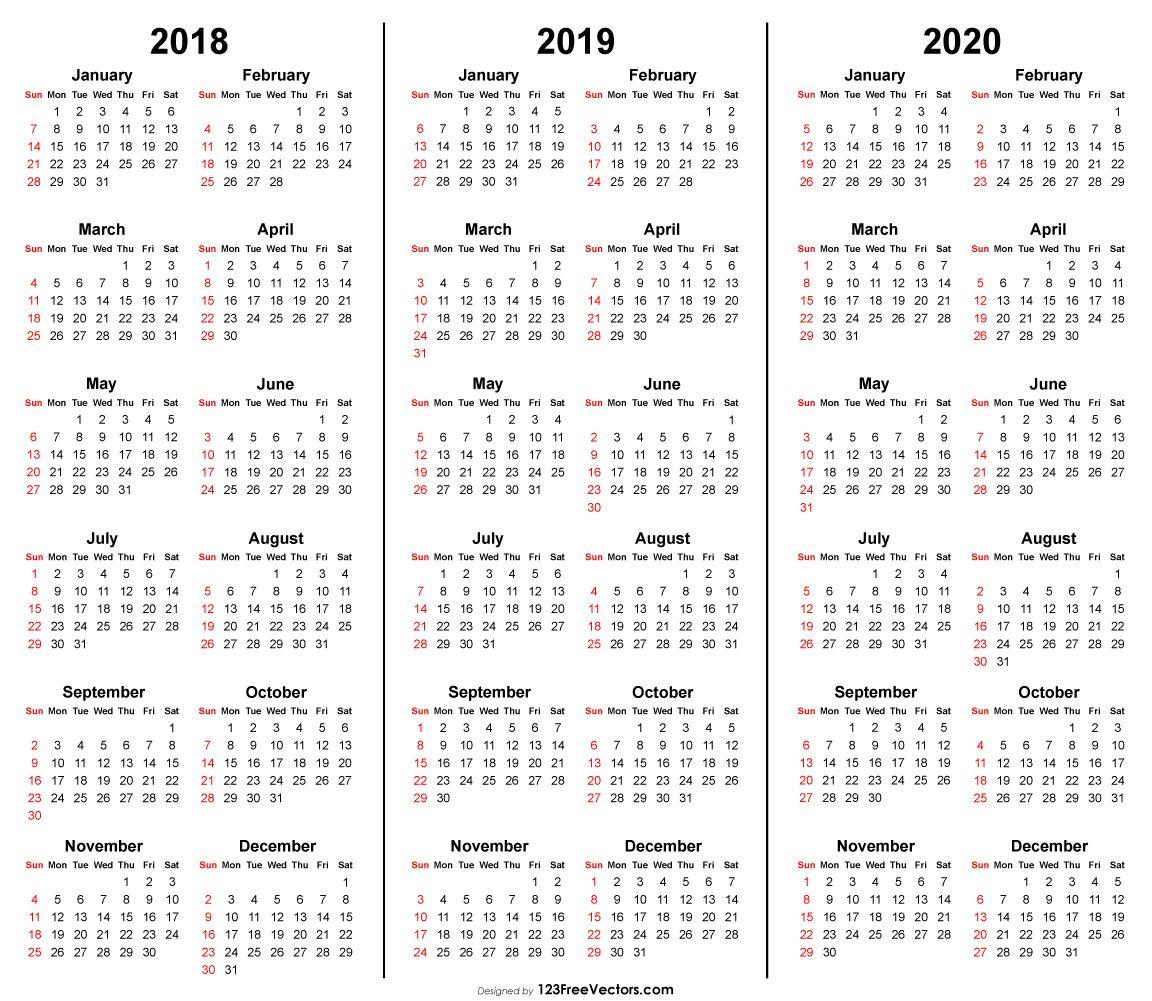 3 Year Calendar 2018 2019 2020 Printable | 2019 Calendar