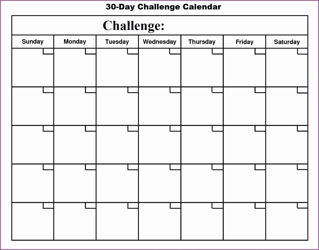30 Day Calendar Template Inspirational Blank 30 Day Calendar