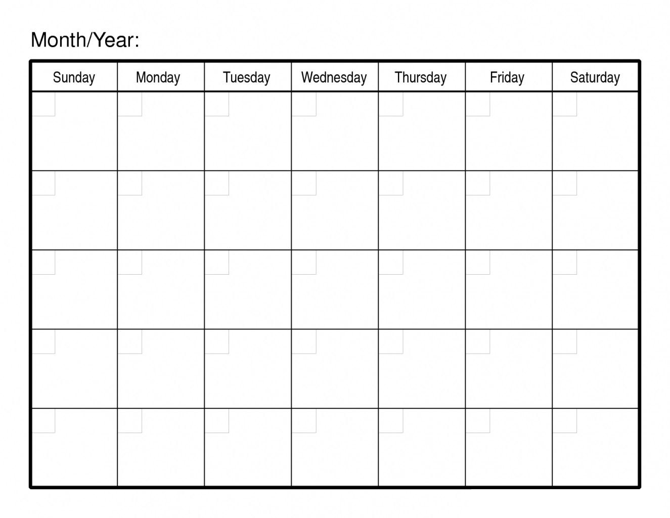 30 Day Free Blank Calendar Printable Template | Free