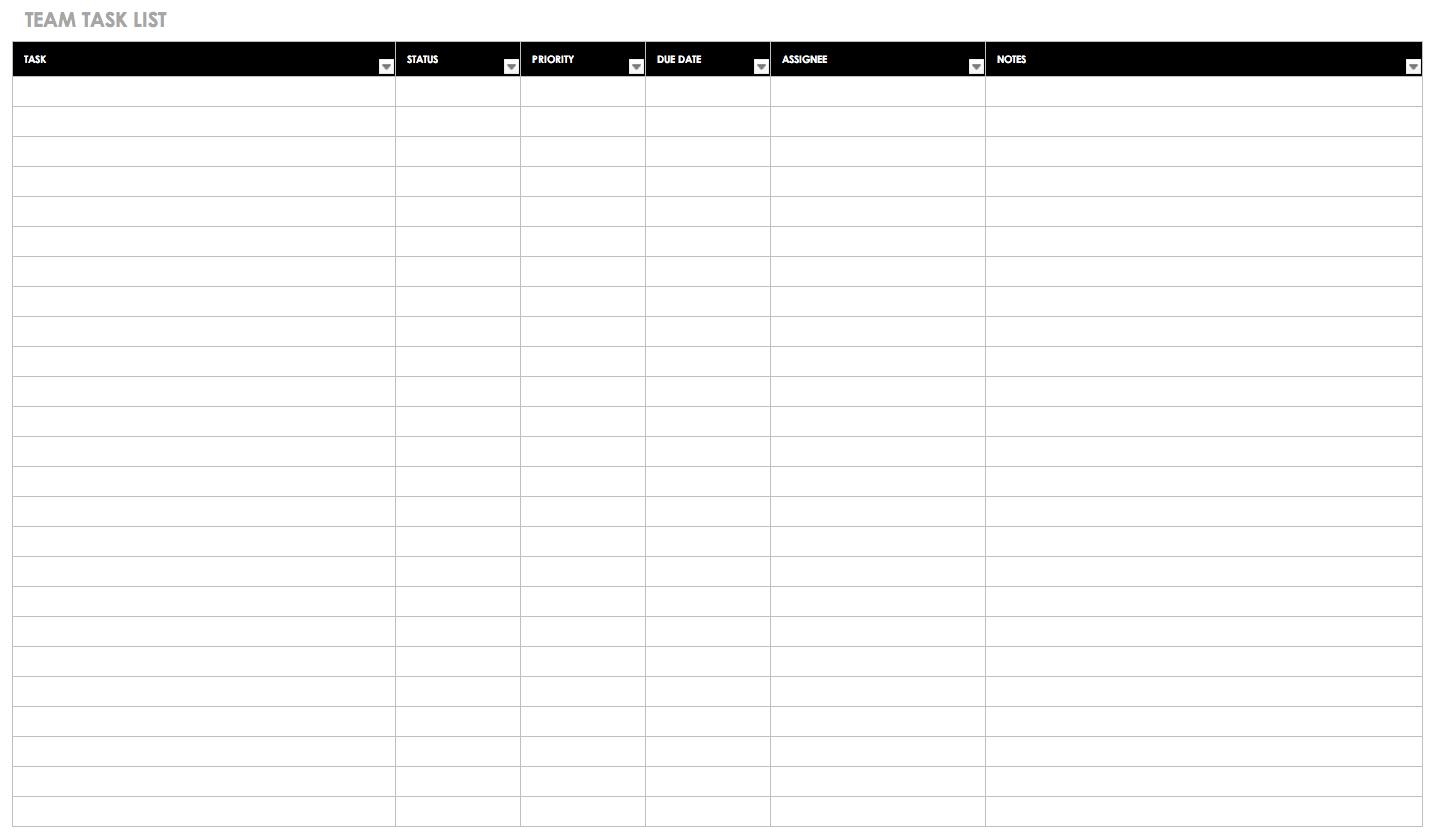 30+ Free Task And Checklist Templates | Smartsheet