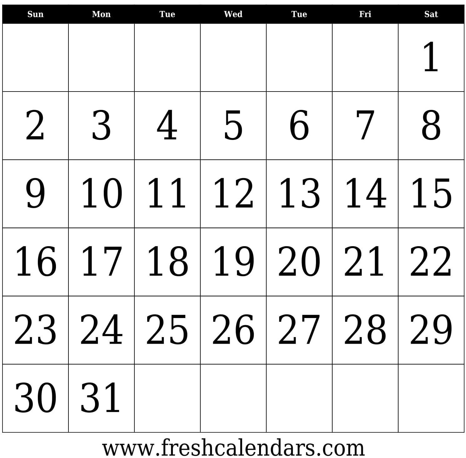 31 Days Blank Calendar Template Bold In To Edit | Thekpark