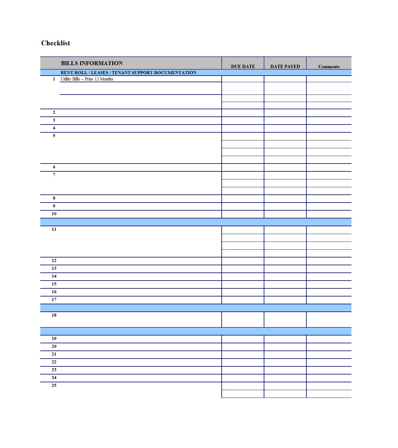 32 Free Bill Pay Checklists & Bill Calendars (Pdf, Word & Excel)