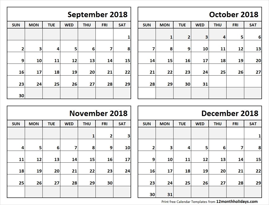 4 Month Blank Calendar Template   Template Calendar Printable