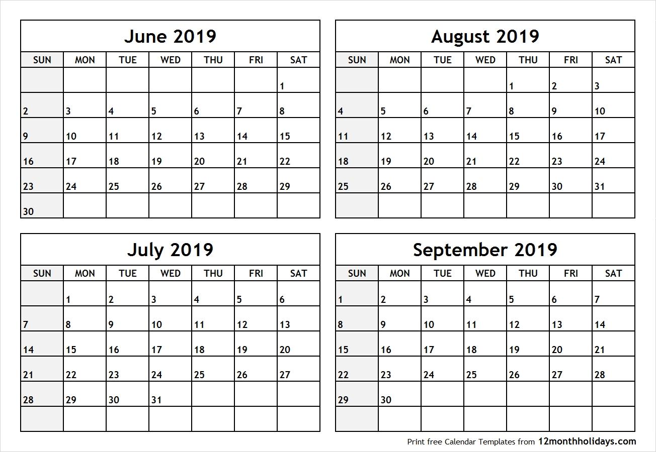 4 Month Calendar 2019 • Printable Blank Calendar Template