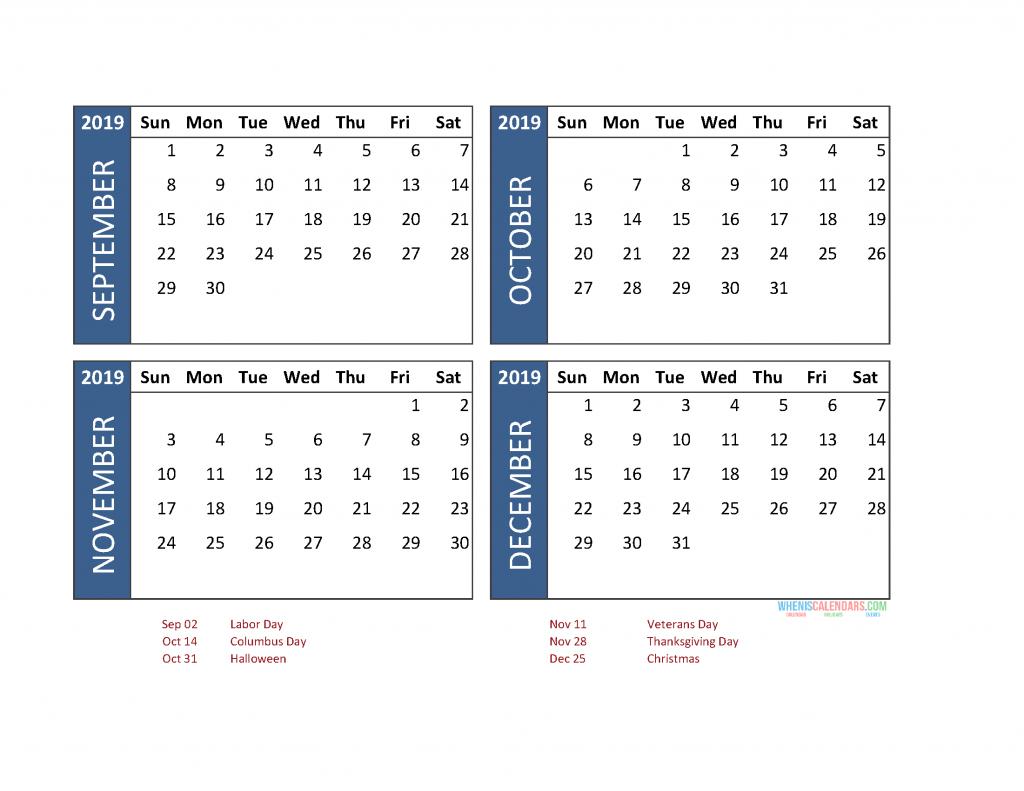 4 Month Calendar 2019 Printable [ January To December