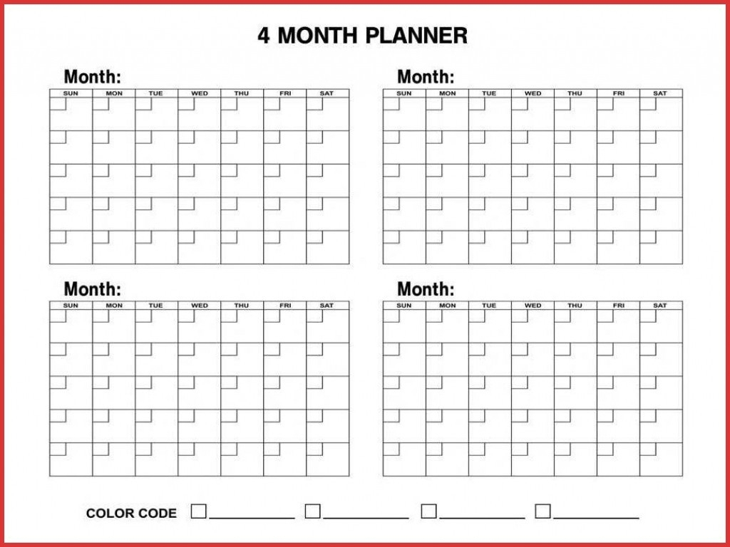 4 Month Calendar Template – Get Your Calendar Printable