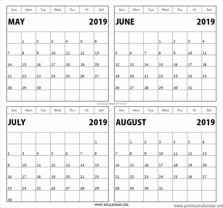 4 Month Printable Calendar 2019 | Free Printables 2019