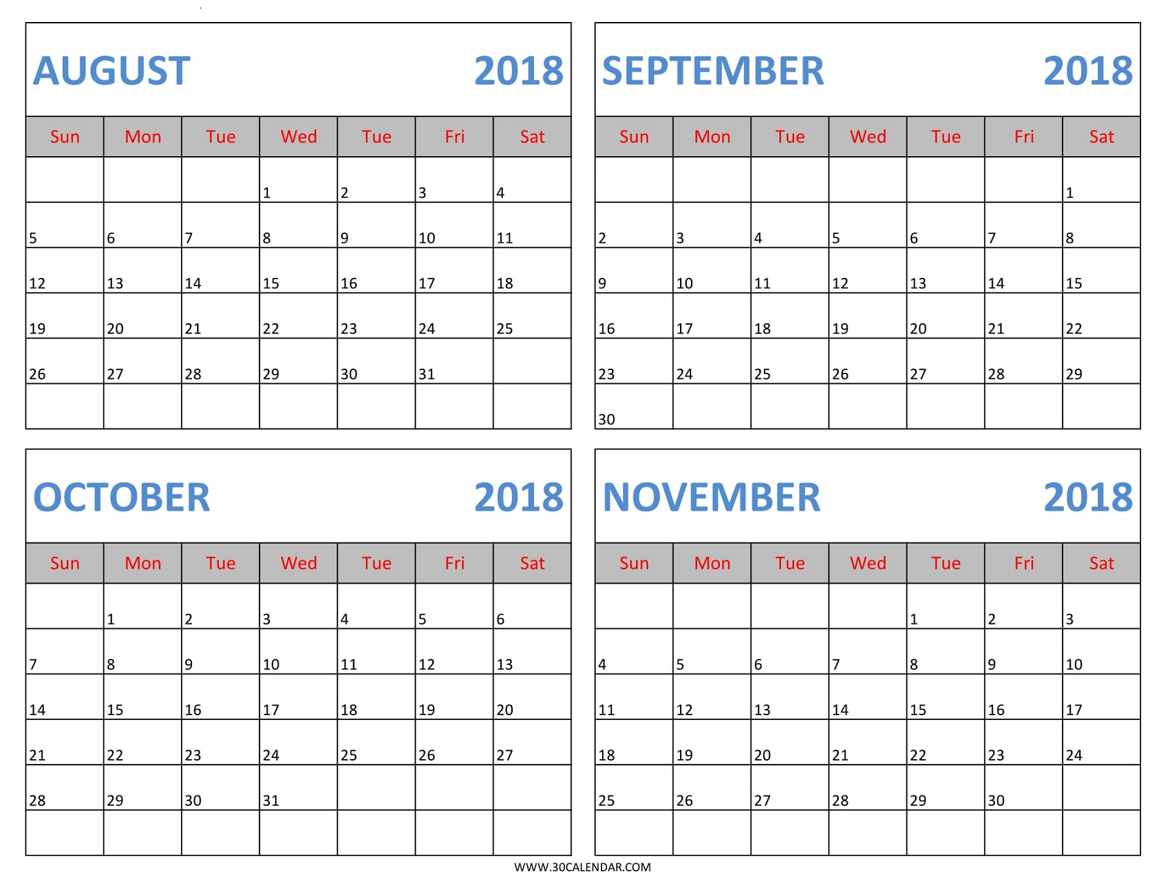 4 Months 2018 Calendar | August September October November