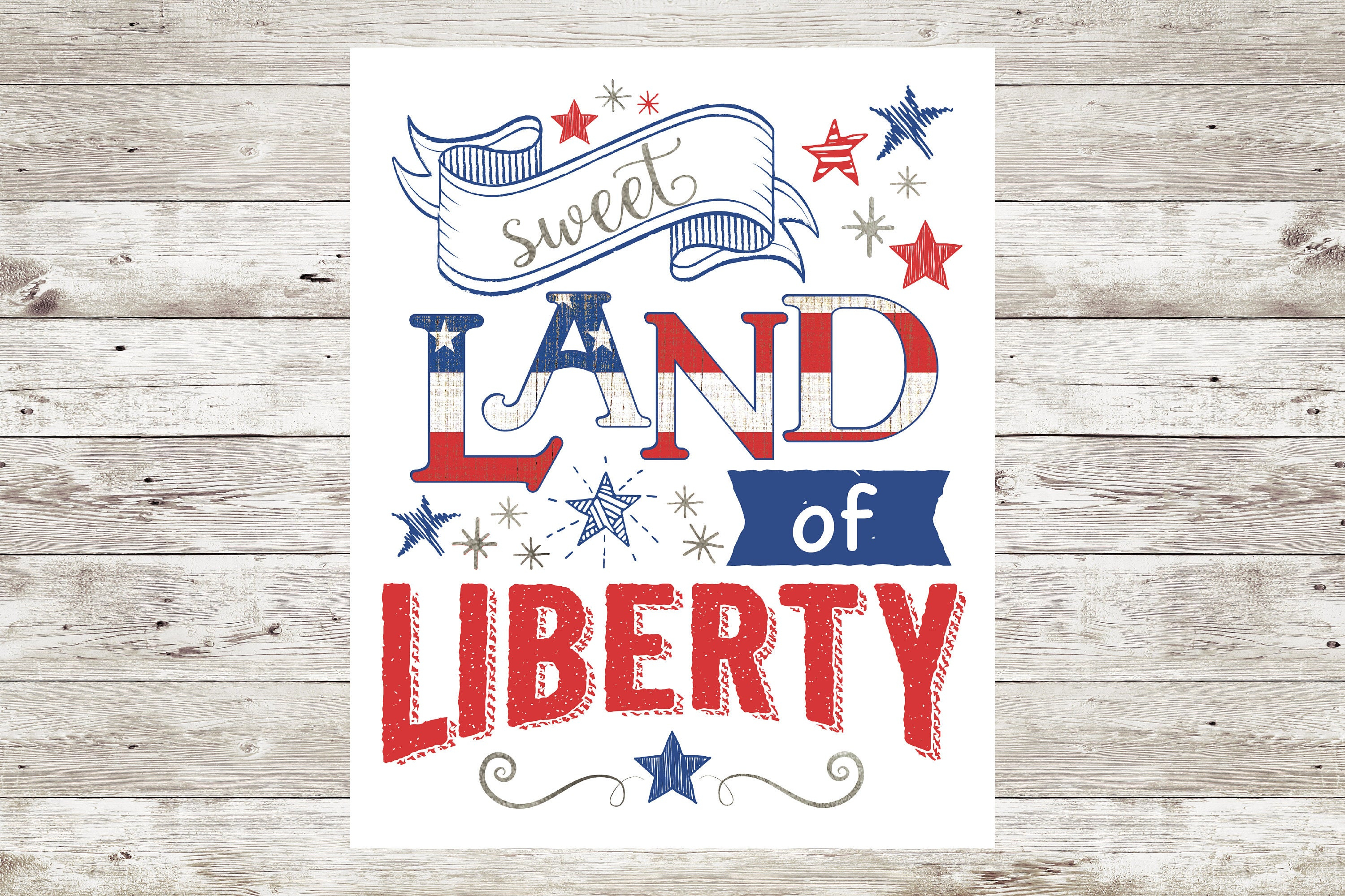 4Th Of July Decoration, Independence Day Sign, Instant Download, Printable  Sign, 8X10, Pdf & Jpg, American Decor, Sweet Land Of Liberty