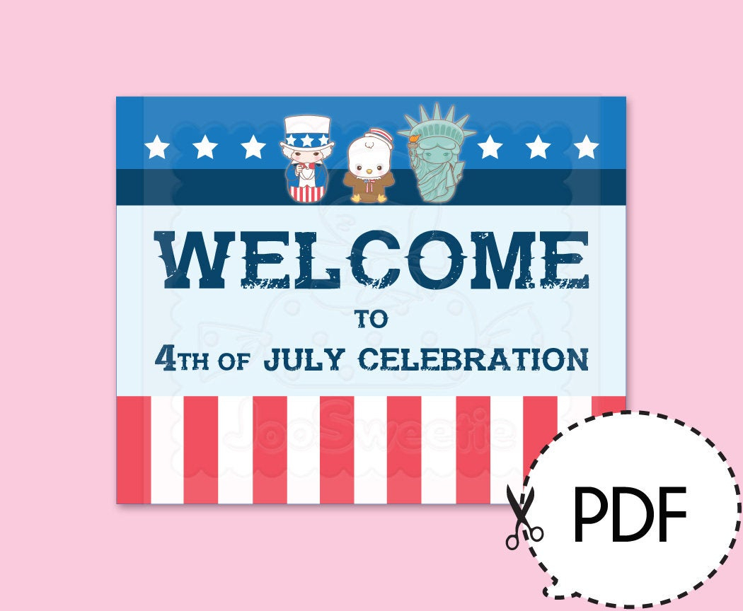 4Th Of July Party Welcome Sign-Printable Pdf Download