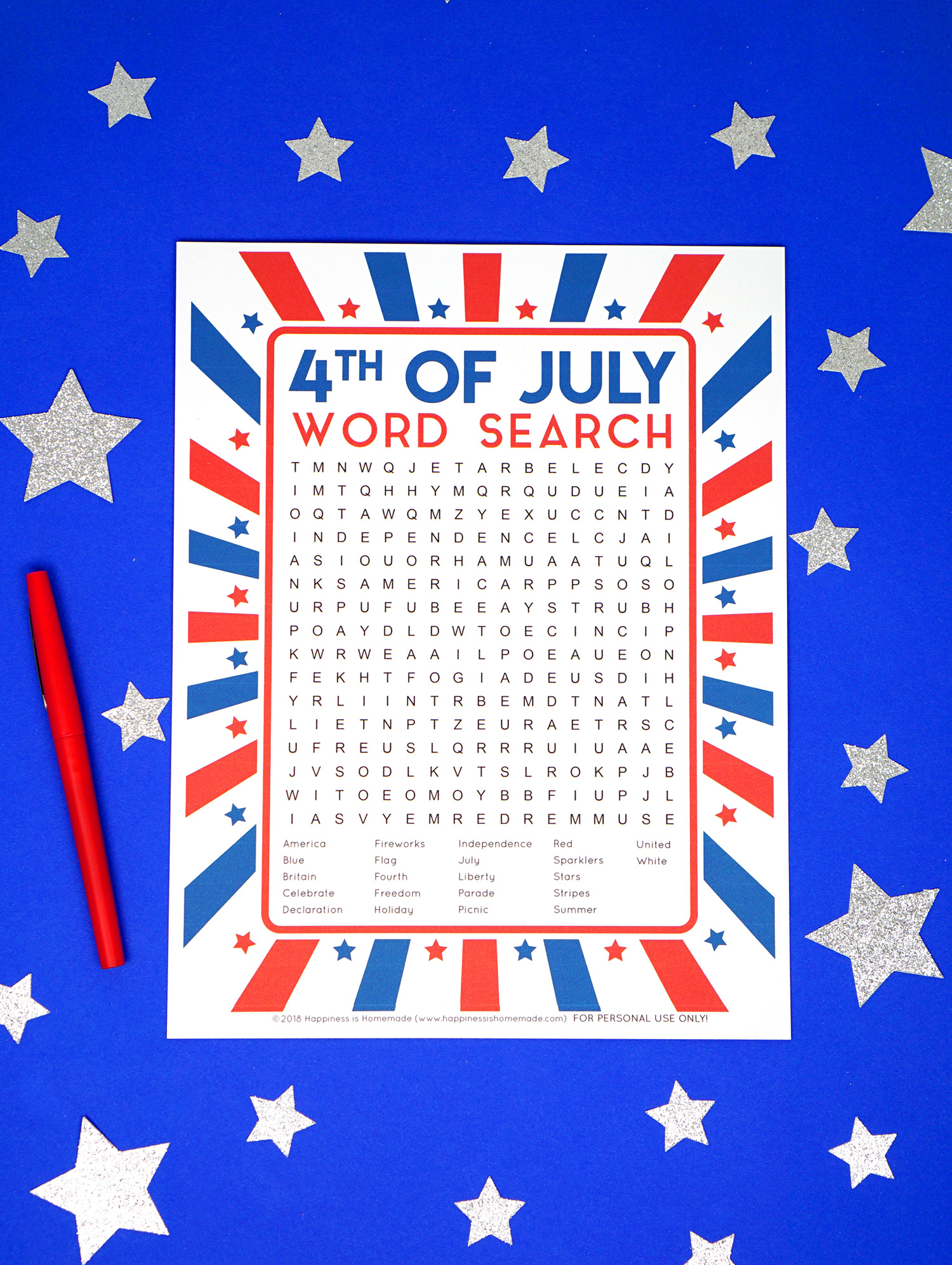 4Th Of July Word Search Printable - Happiness Is Homemade