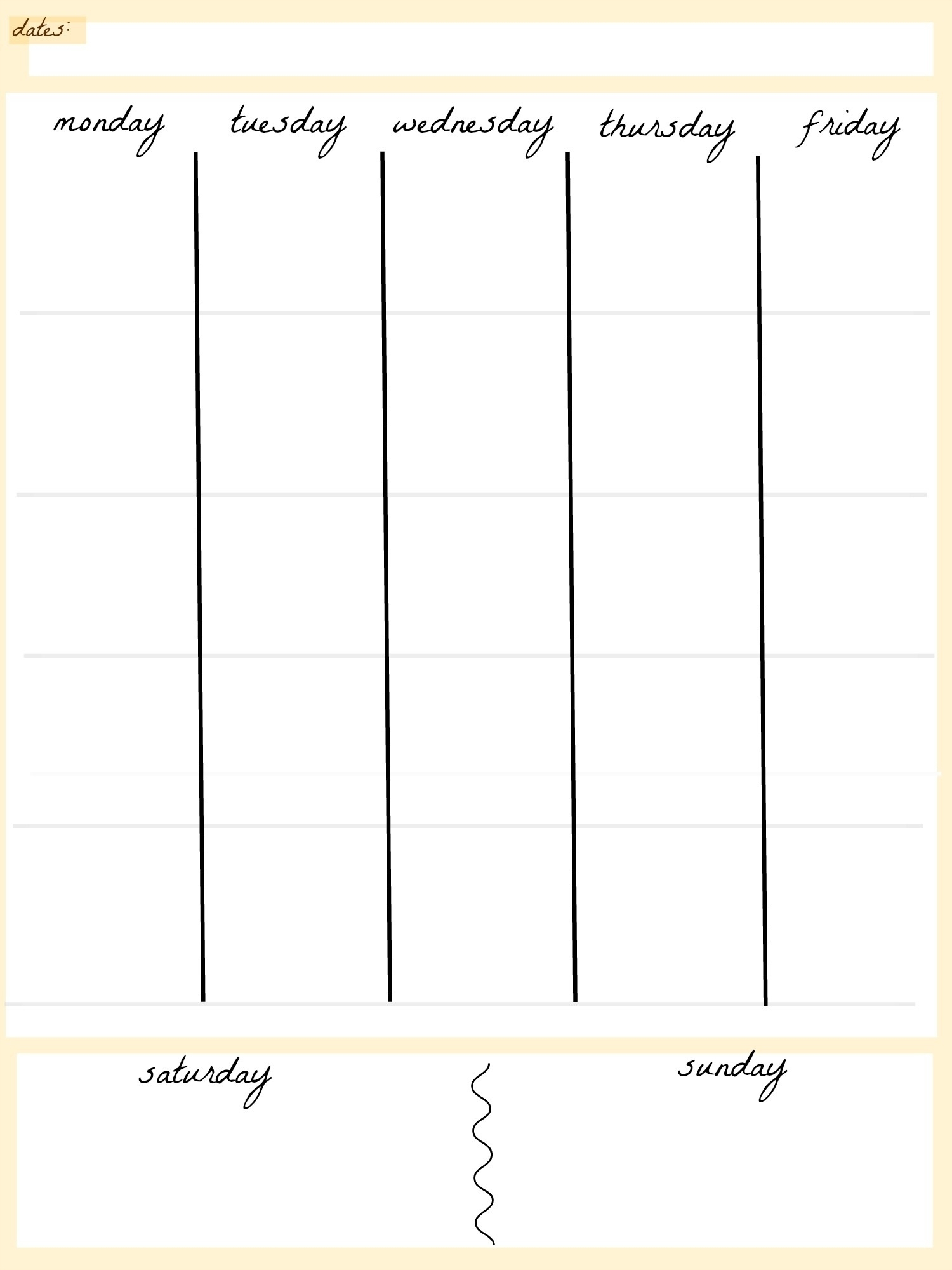 5 Day Calendar Monthly • Printable Blank Calendar Template