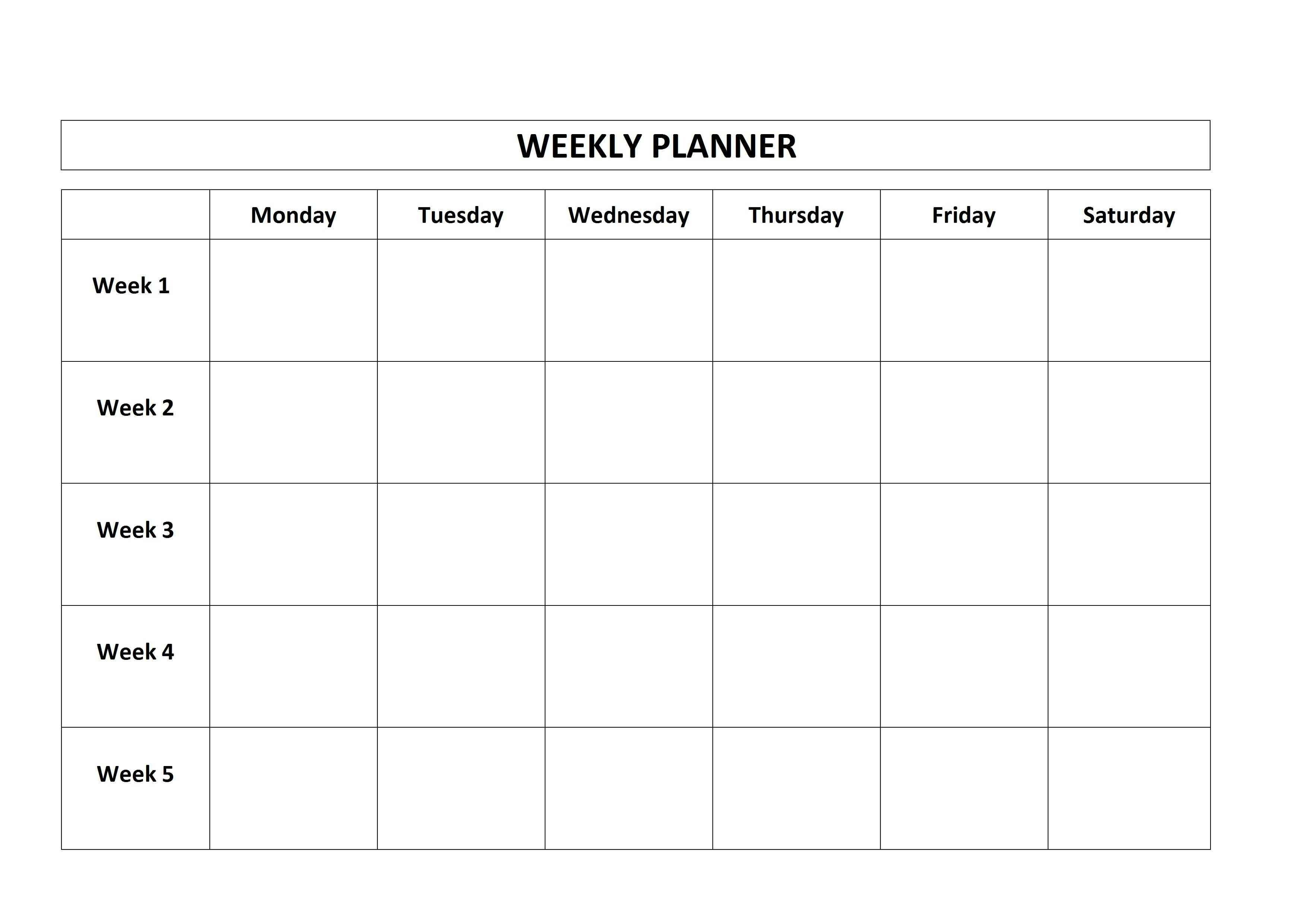 5 Day Week Calendar Printable