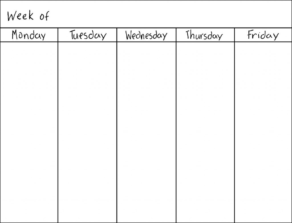 5 Day Monthly Calendar • Printable Blank Calendar Template