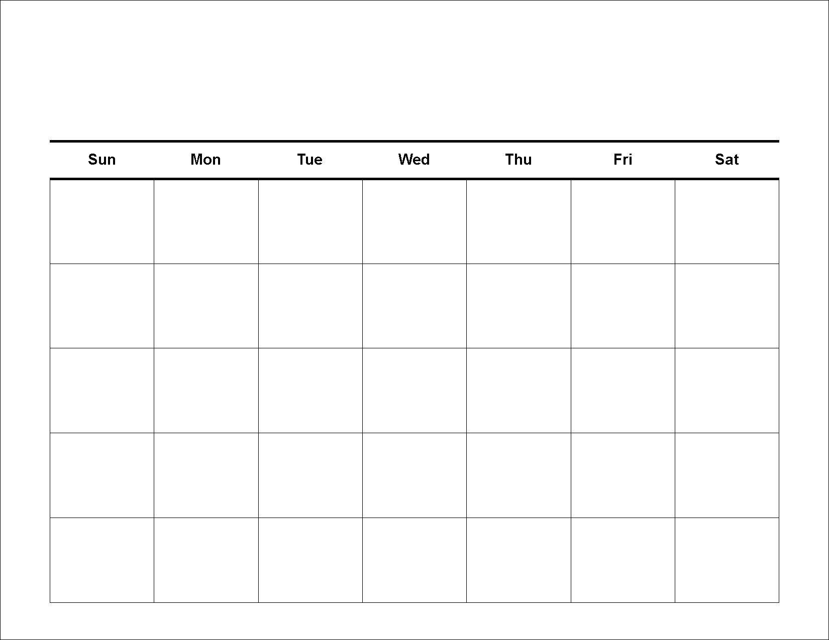 5 Week Calendar Template • Printable Blank Calendar Template