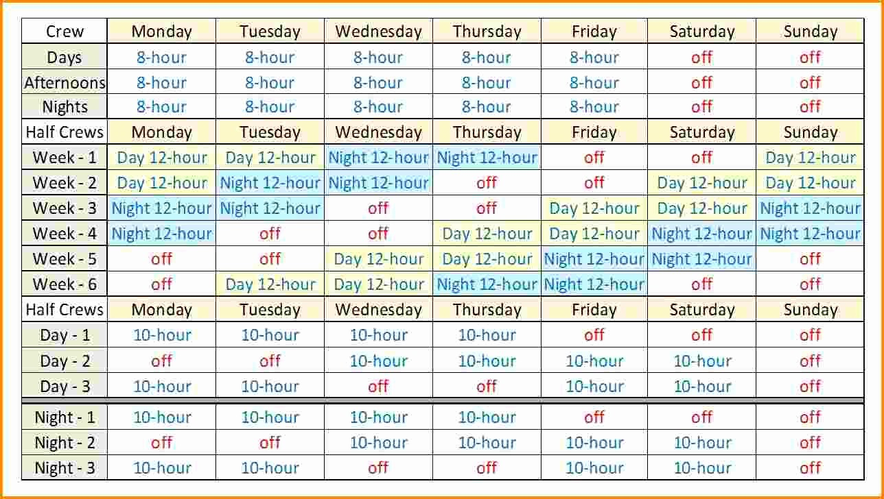50 12 Hour Shift Schedule Template | Culturatti