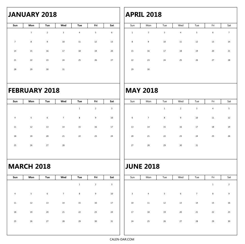 6 Month 2018 Calendar Printable | 2018 Calendars | 2018