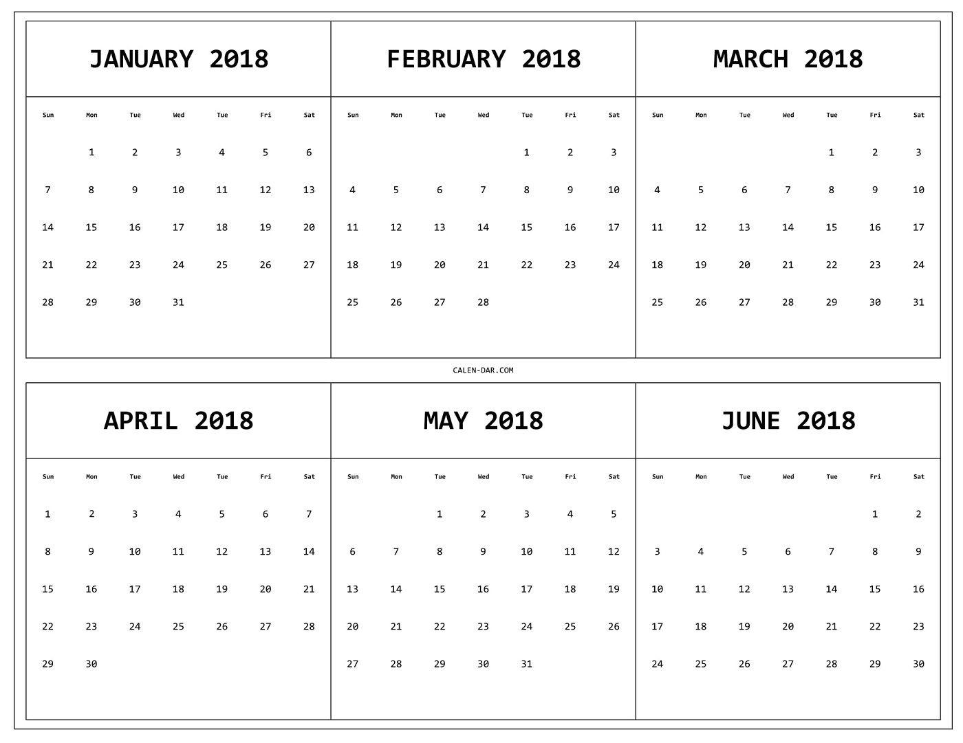 6 Month 2018 Calendar Printable | 2018 Calendars | Calendar