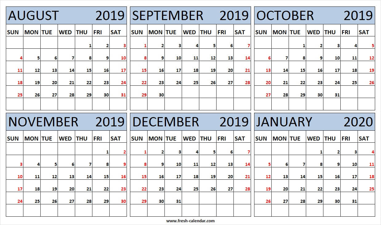 6 Month Calendar August 2019 To January 2020 Free | 2019