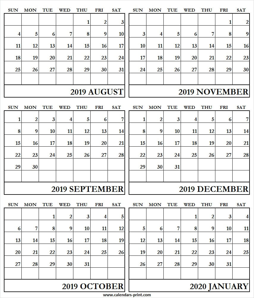 6 Month Calendar August 2019 To January 2020 | Print Free