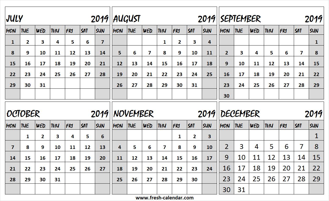 6 Month Calendar July To December 2019 Free | Editable 2019
