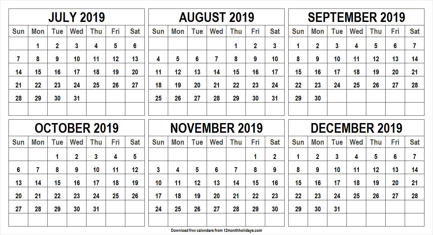 6 Month Calendar July To December 2019 Template | Monthly