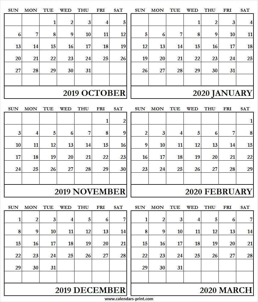 6 Month Calendar October 2019 To March 2020 | Blank Calendar