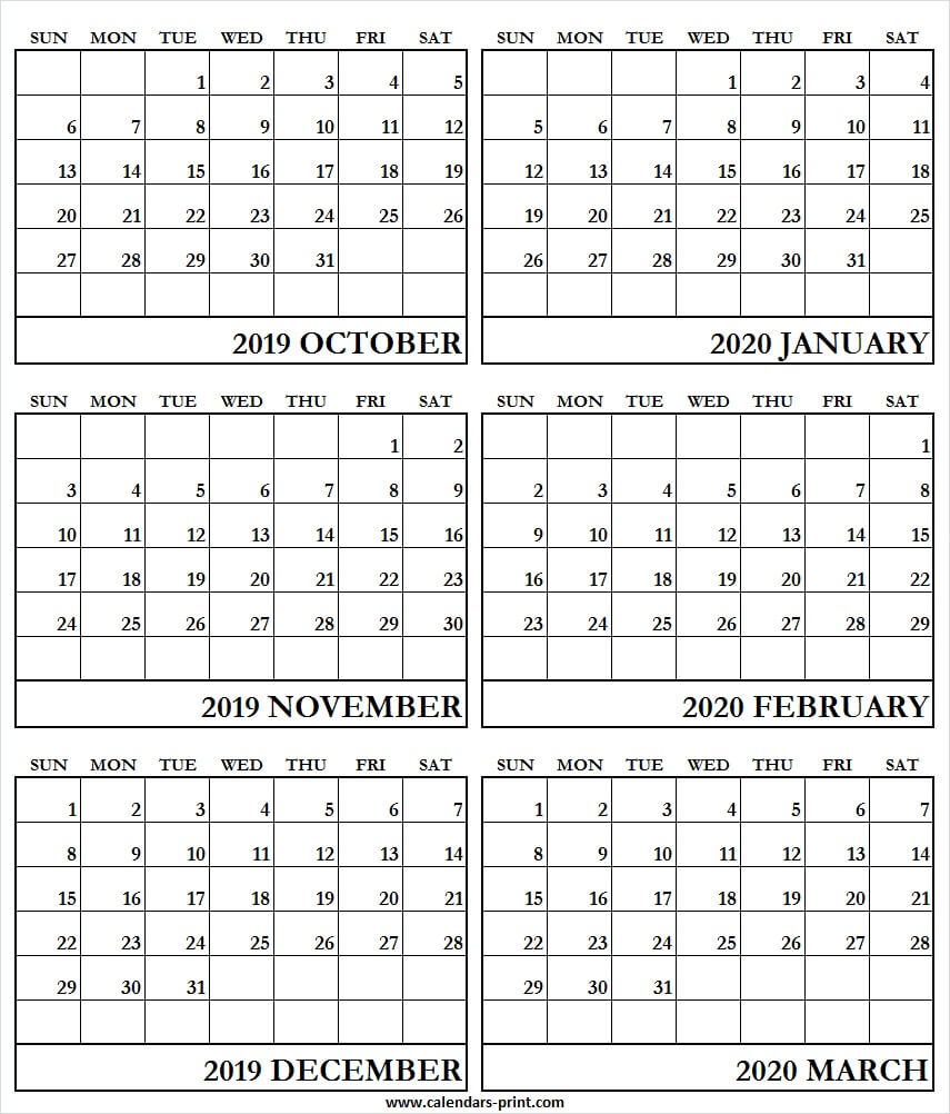 6 Month Calendar October 2019 To March 2020 | Blank Calendar