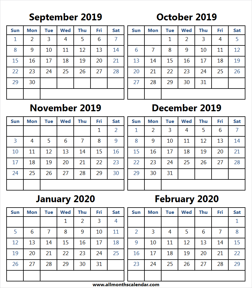 6 Month Calendar September 2019 To February 2020 | Month