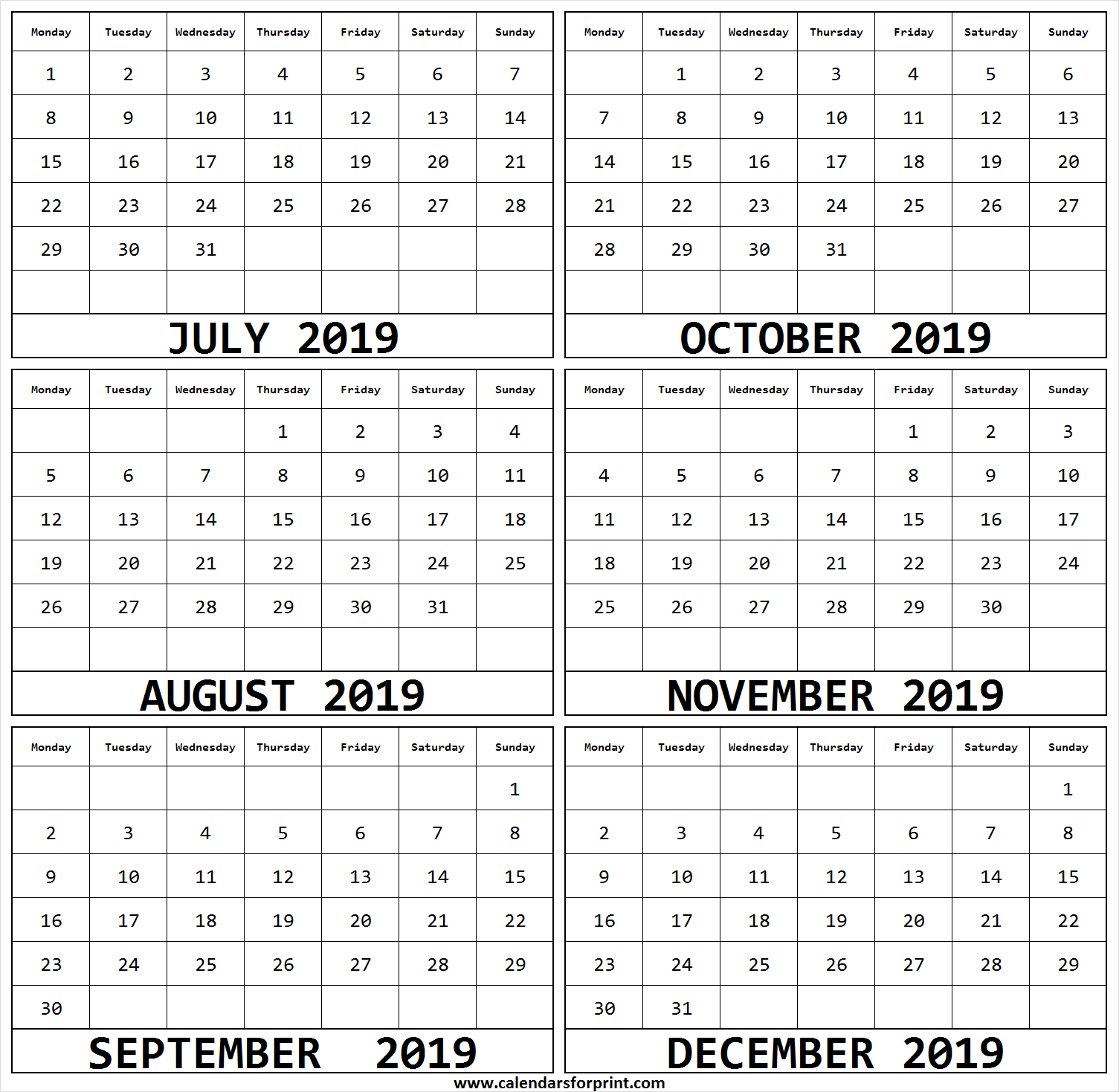 6 Month July December 2019 Calendar | Calendar 2019 Doc