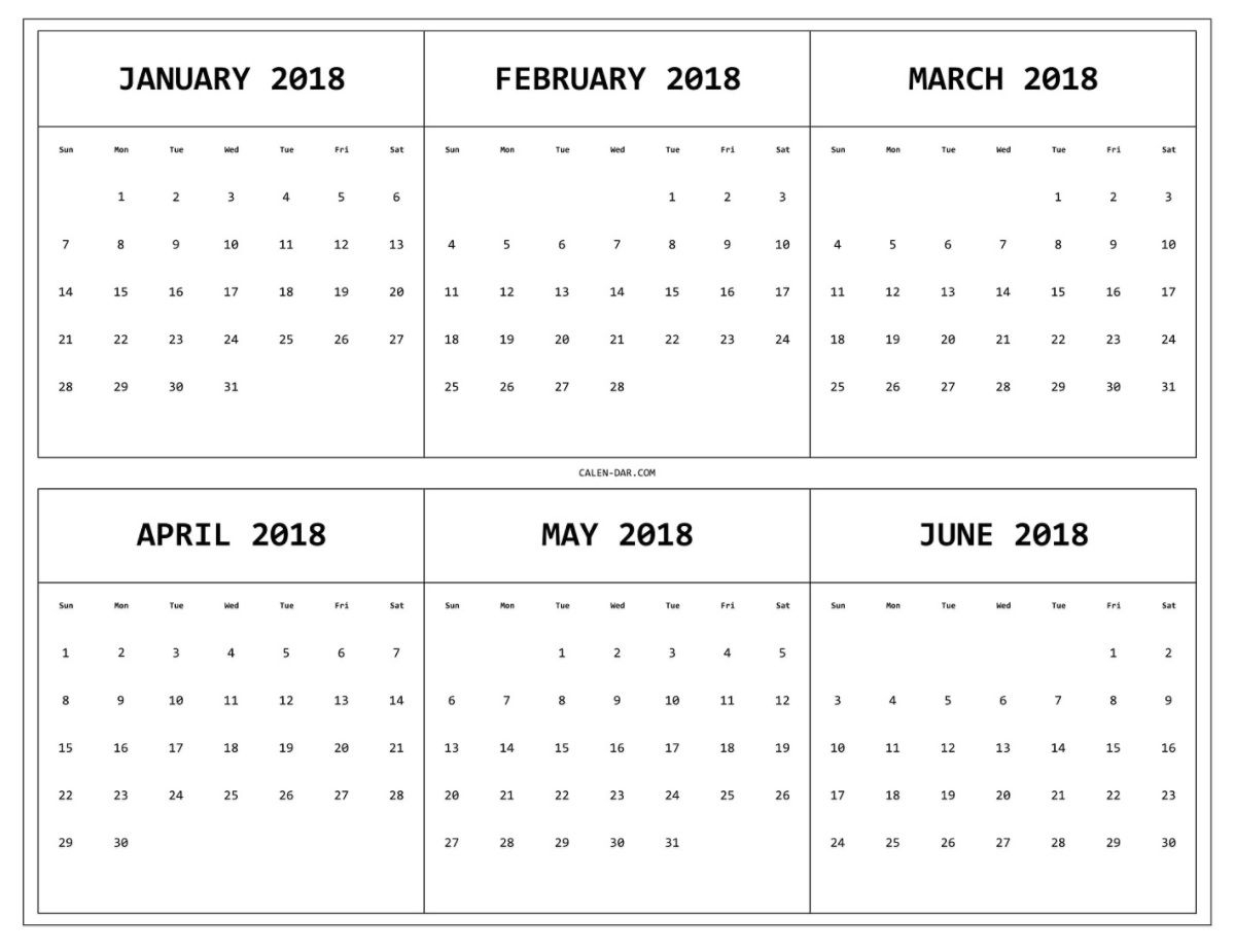 6 Month One Page Printable Calendar 2018   Maxcalendars