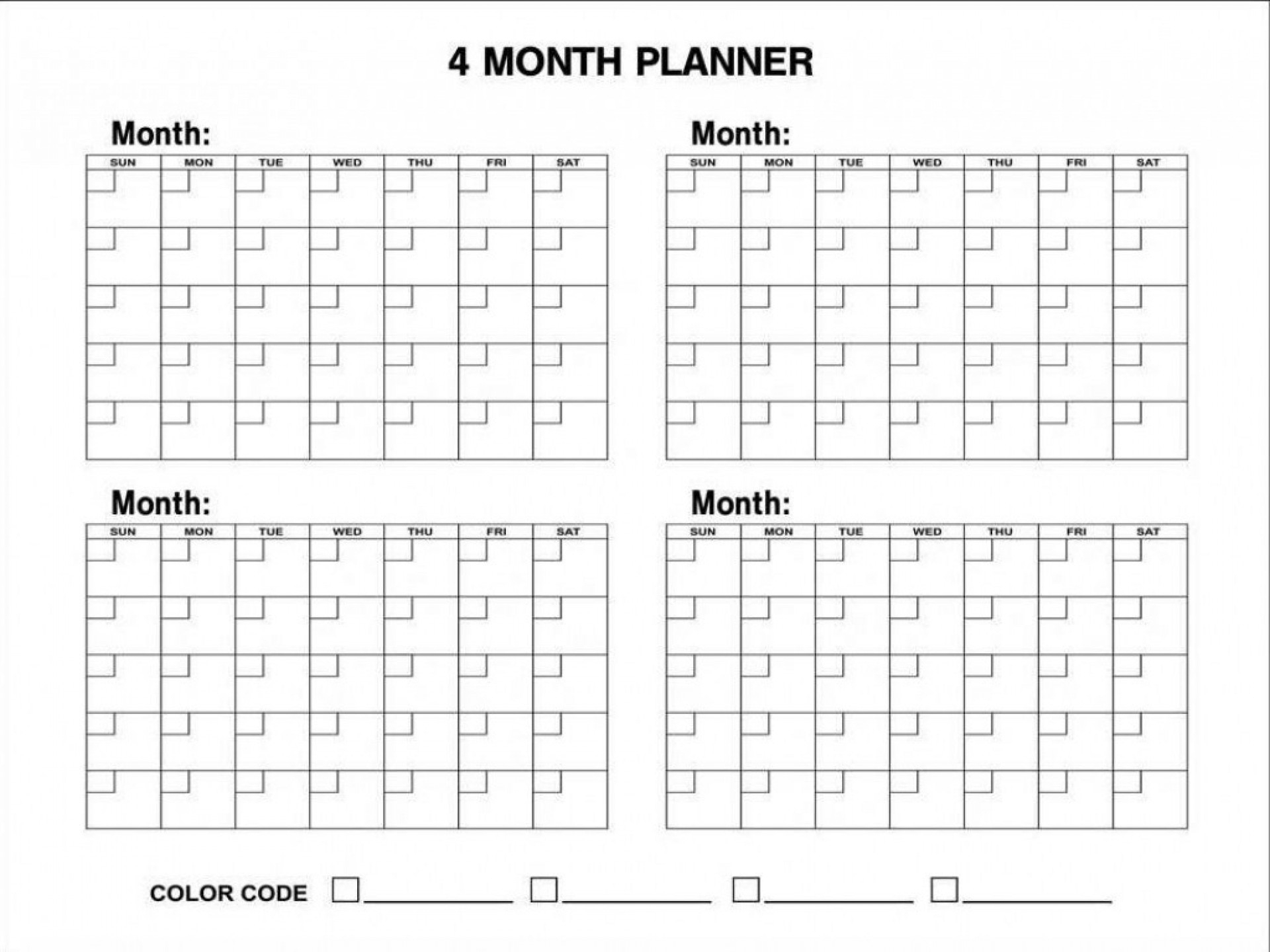 6 Month Planning Calendar Template • Printable Blank