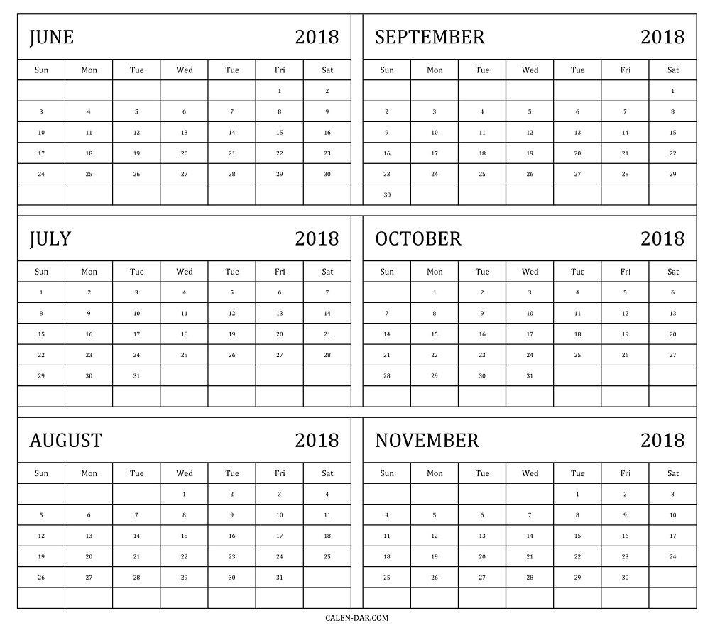 6 Month Printable Calendar Free • Printable Blank Calendar