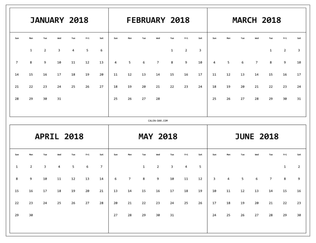6 Monthly Calendar – Calendar Printable Week
