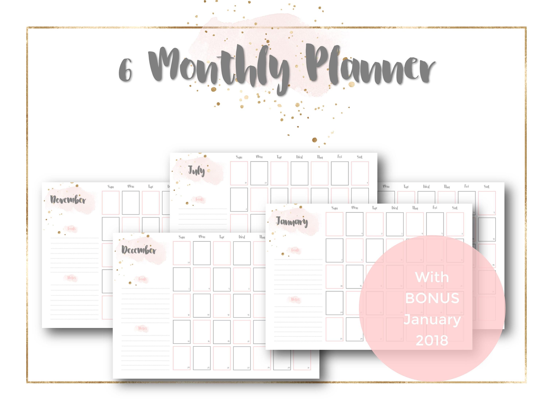 6 Monthly Calendar Planner Bundle July To December 2017 & Bonus January  2018, Blush Pink, Gold, Grey, Planner Printable, 6 Month Overview