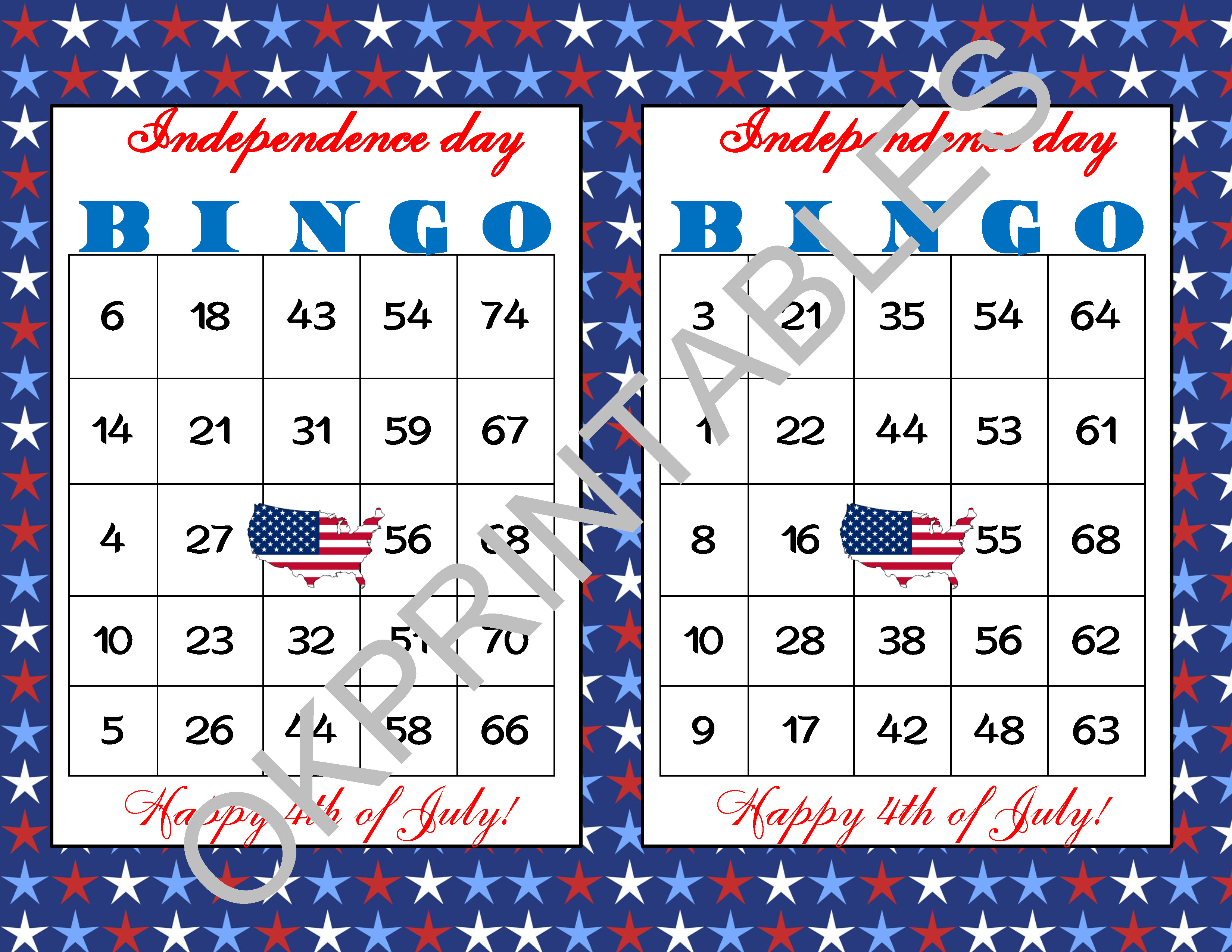 60 Happy 4Th Of July Bingo Cards - Printable Independence Day Game -  Patriotic Bingo Game