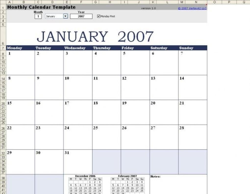 8 X 10 Monthly Calendar • Printable Blank Calendar Template