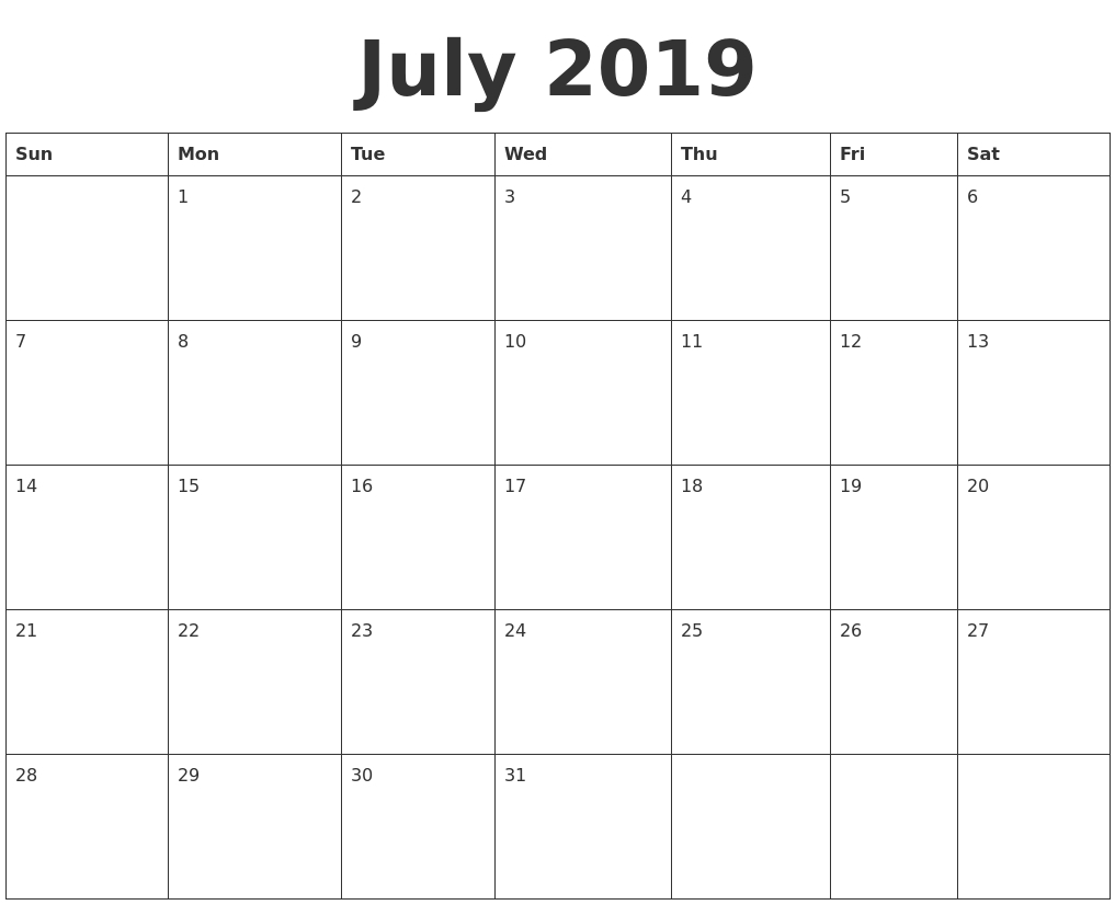 8 X 10 Printable Calendar July 2019 | Calendar Format Example