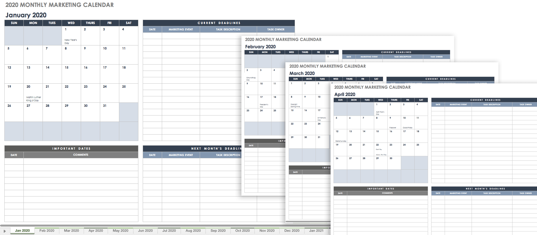 9 Free Marketing Calendar Templates For Excel - Smartsheet
