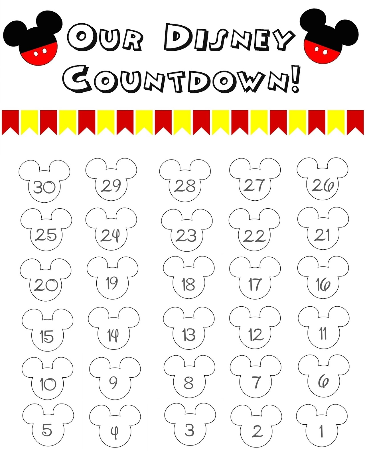 99 Days To Disney Printable Calendar - Calendar Inspiration