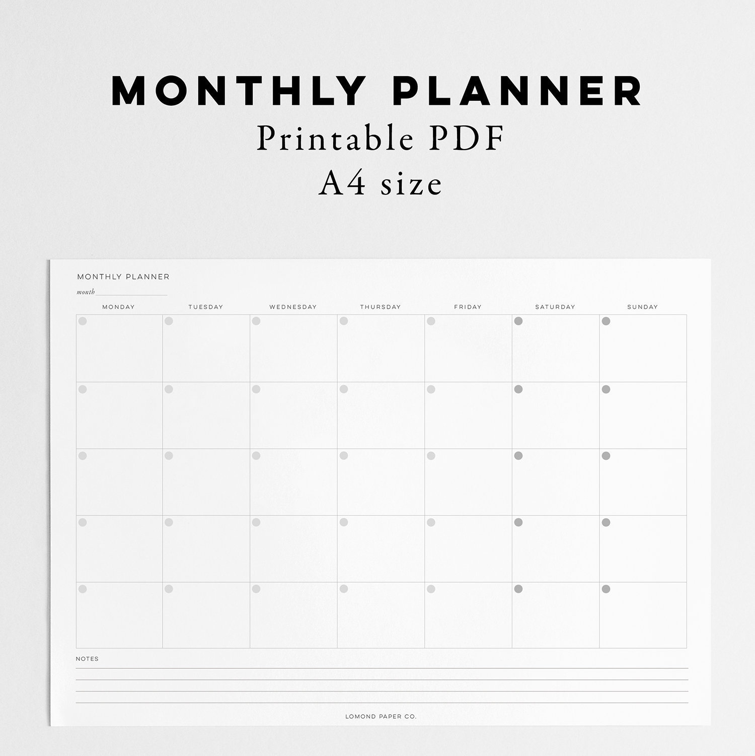 A4 Monthly Printable - Month At A Glance - Monthly Organiser - Monthly Desk  Pad - Plan Your Month