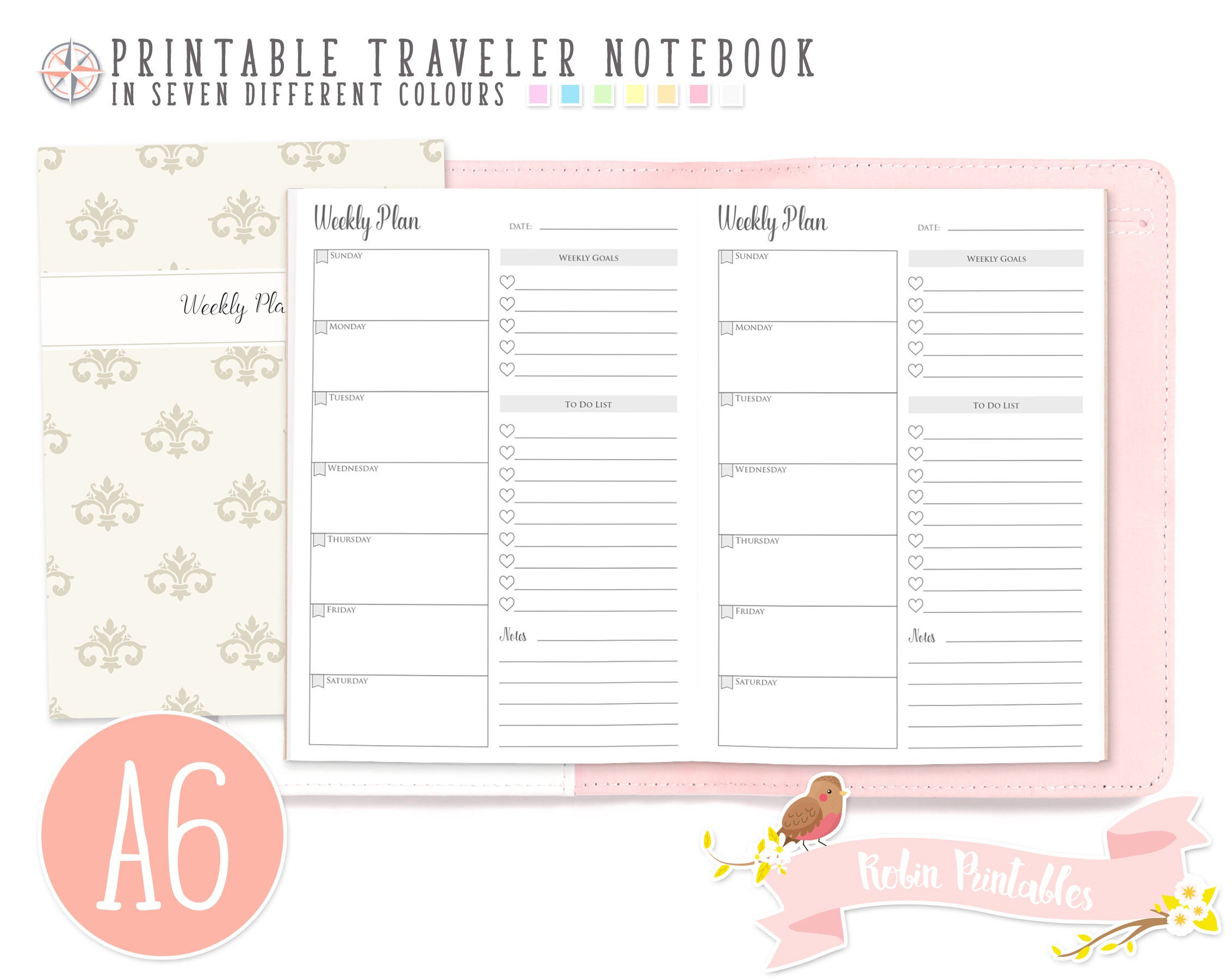A6 Weekly Planner Sunday Start Traveler Notebook Refill. 4 X 6 Printable Tn  Download Personal Use. Weekly Schedule, Week Plan Inserts