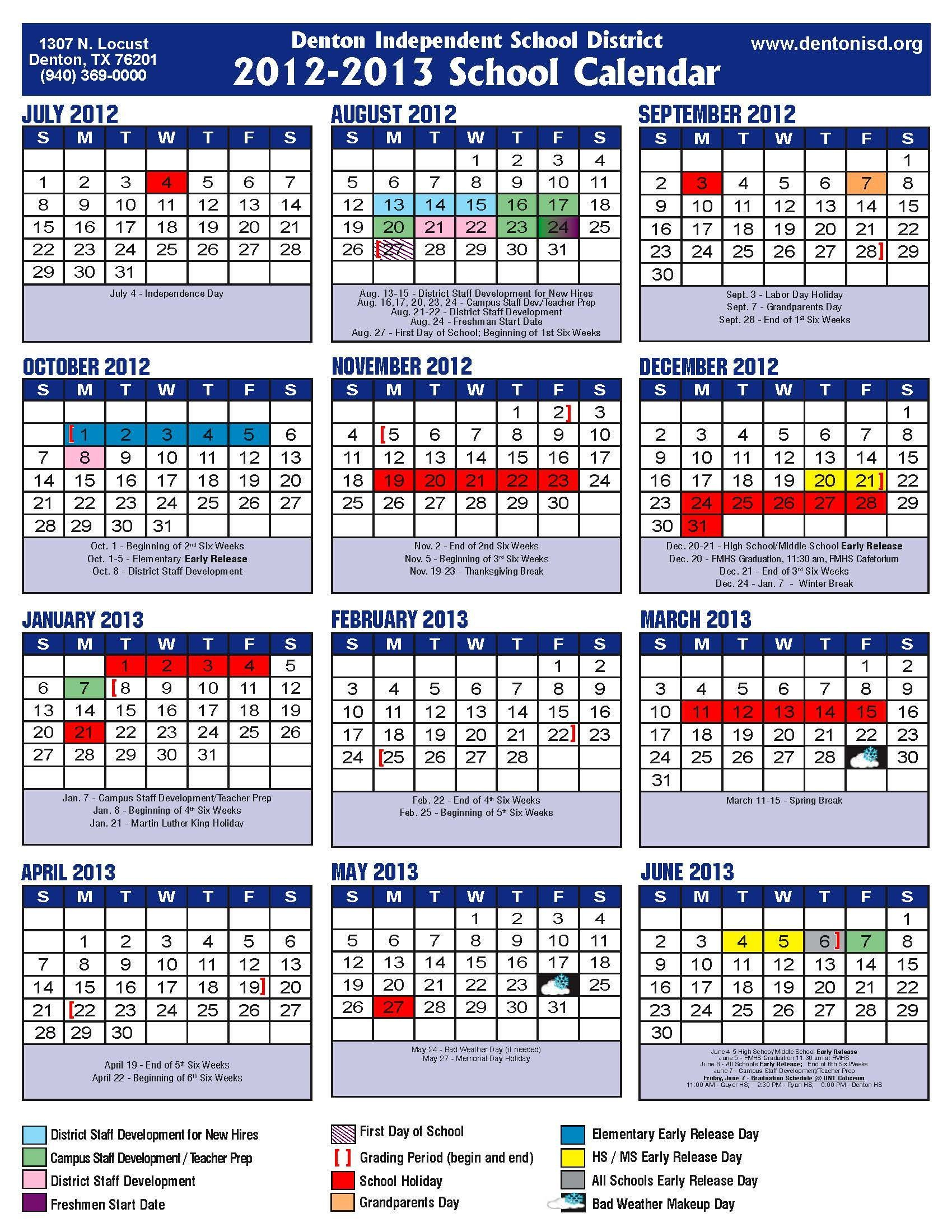 Academic Calendar Disd | 12 Month At A Glance Calendar Template