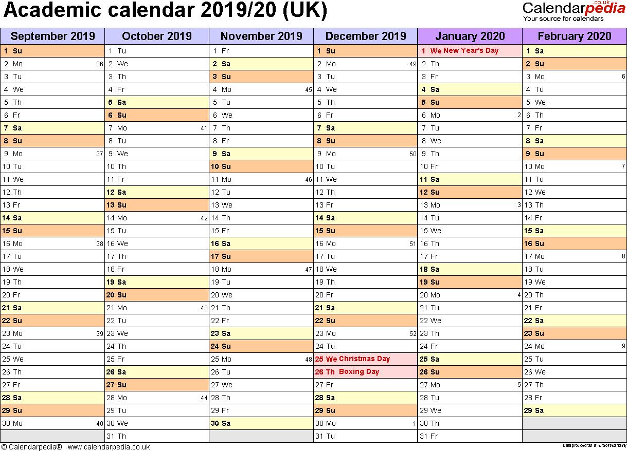 Academic Calendars 2019/2020 As Free Printable Word Templates