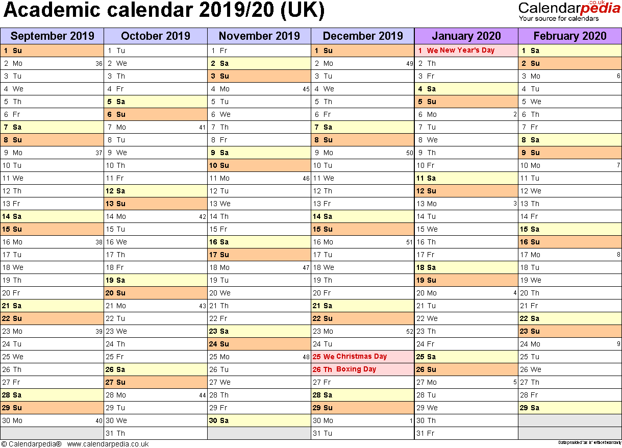 Academic Calendars 2019/2020 As Free Printable Word Templates